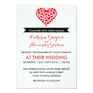"""Black and White Wedding Invitation with Red Heart 5"""" X 7"""" Invitation Card"""