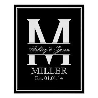 Black and White Wedding Monogram Posters