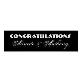Black and White Wedding or Engagement Banner Poster