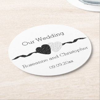 Black And White Wedding Round Paper Coaster