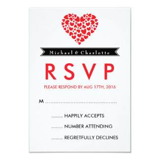 Black and White Wedding RSVP Card with Red Heart 9 Cm X 13 Cm Invitation Card
