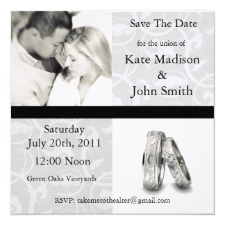 "Black and White Wedding ""Save The Date"" Card"