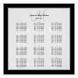 Black and White Wedding Seating Chart for 300 Print
