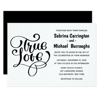 Black And White Wedding True Love Typography Card