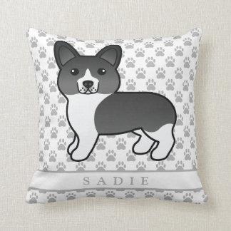 Black And White Welsh Corgi Pembroke Dog & Name Cushion