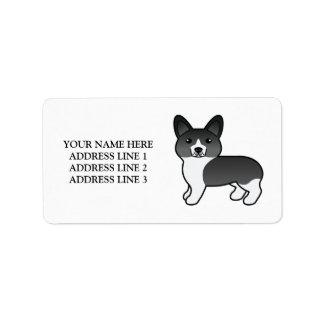 Black And White Welsh Corgi Pembroke Dog & Text Label