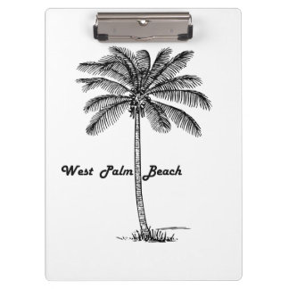Black and white West Palm Beach & Palm design Clipboard