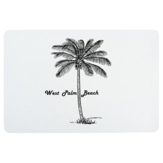 Black and white West Palm Beach & Palm design Floor Mat