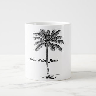 Black and white West Palm Beach & Palm design Large Coffee Mug
