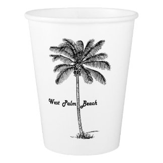 Black and white West Palm Beach & Palm design Paper Cup