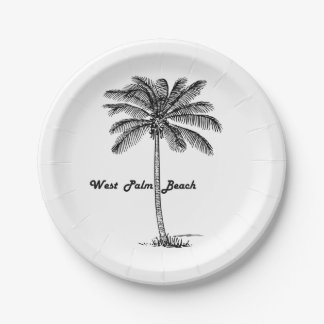 Black and white West Palm Beach & Palm design Paper Plate