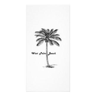 Black and white West Palm Beach & Palm design Photo Card