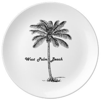 Black and white West Palm Beach & Palm design Plate