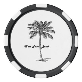 Black and white West Palm Beach & Palm design Poker Chips