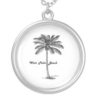 Black and white West Palm Beach & Palm design Silver Plated Necklace