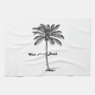 Black and white West Palm Beach & Palm design Tea Towel