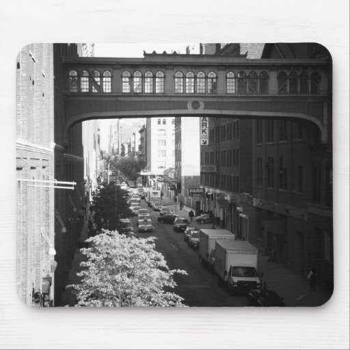 Black and White West Village Skybridge, NYC Mousepads