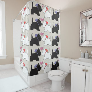 Black and White Westie Dogs Art Shower Curtain
