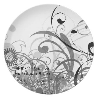 black and white Whimsical plate