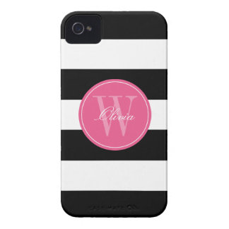 Black and White Wide Stripes Pattern Monogram iPhone 4 Cover
