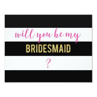 Black and White Will You Be My Bridesmaid Card 11 Cm X 14 Cm Invitation Card