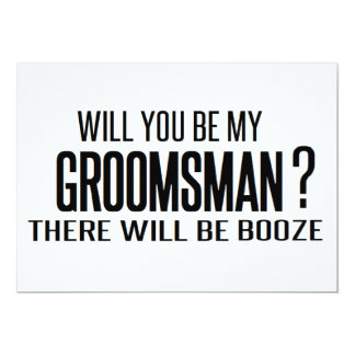 black and white will you be my groomsman? wedding 13 cm x 18 cm invitation card