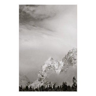 BLACK AND WHITE WINTER LANDSCAPE POSTER