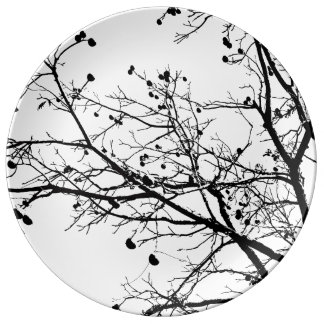 Black and White Winter Tree Plate