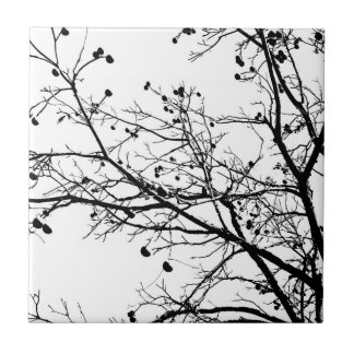 Black and White Winter Tree Small Square Tile