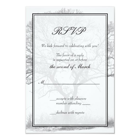 Black and White Winter Tree Wedding Reply Card