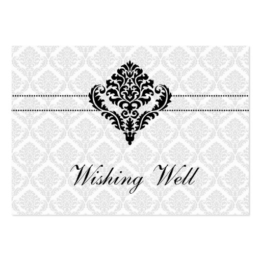 """black and white"" wishing well cards business card template"