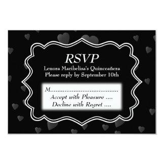Black and White with Dark Hearts Quinceanera 9 Cm X 13 Cm Invitation Card