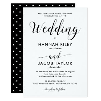 Black and White with Dots Wedding Card