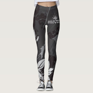 Black and white with flowers leggings