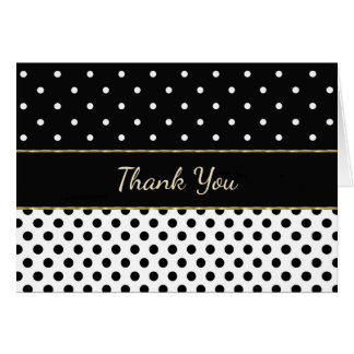 Black and White with Gold Trim Thank You Card