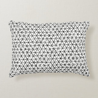 Black and White with Grey Shibori Geometric Decorative Cushion