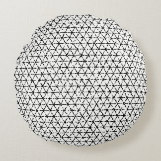 Black and White with Grey Shibori Geometric Round Cushion