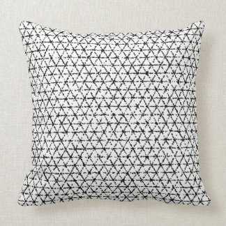 Black and White with Grey Shibori Geometric Throw Pillow