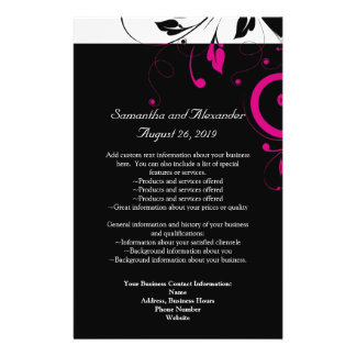 Black and White with Magenta Swirl Accent 14 Cm X 21.5 Cm Flyer