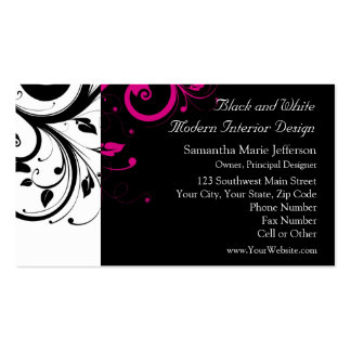 Black and White with Magenta Swirl Accent Business Card Template