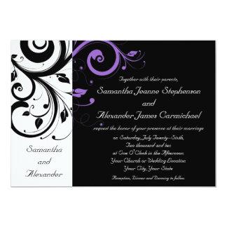 Black and White with Purple Swirl Accent 13 Cm X 18 Cm Invitation Card