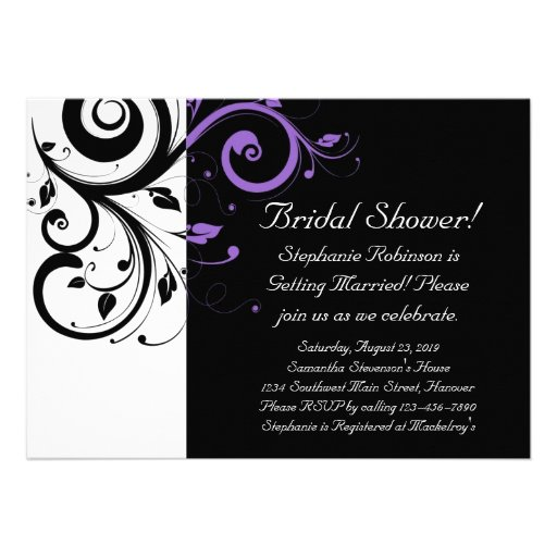 Black and White with Purple Swirl Accent Personalized Announcements