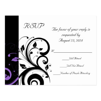 Black and White with Purple Swirl Accent Postcard
