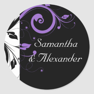 Black and White with Purple Swirl Accent Round Sticker