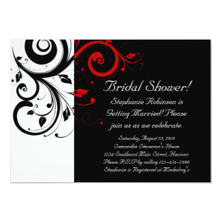 Black and White with Red Reverse Swirl 13 Cm X 18 Cm Invitation Card
