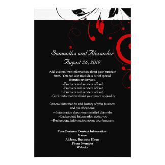 Black and White with Red Reverse Swirl Flyer