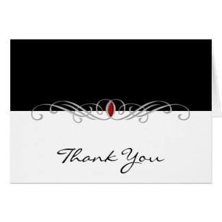 Black and White with Ruby Accent Thank You card
