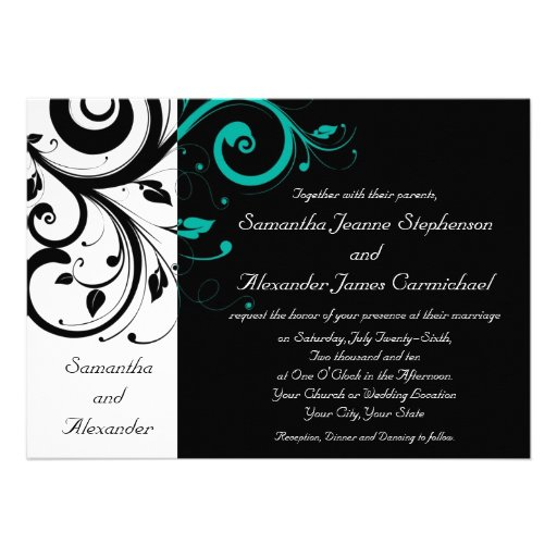 Black and White with Teal Reverse Swirl Custom Invite
