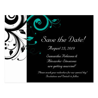 Black and White with Teal Reverse Swirl Postcard