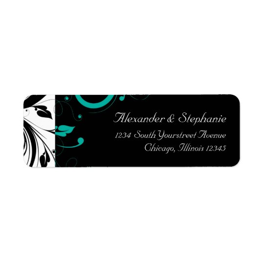 Black and White with Teal Reverse Swirl Return Address Label